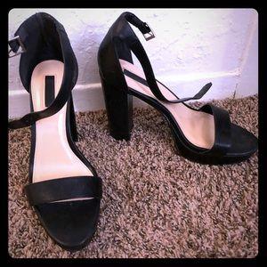 Faux Leather Black Block Platform Heels Size 8.5